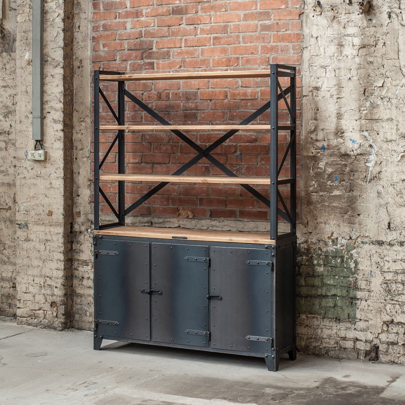 Wood and Metal Industrial Sideboard