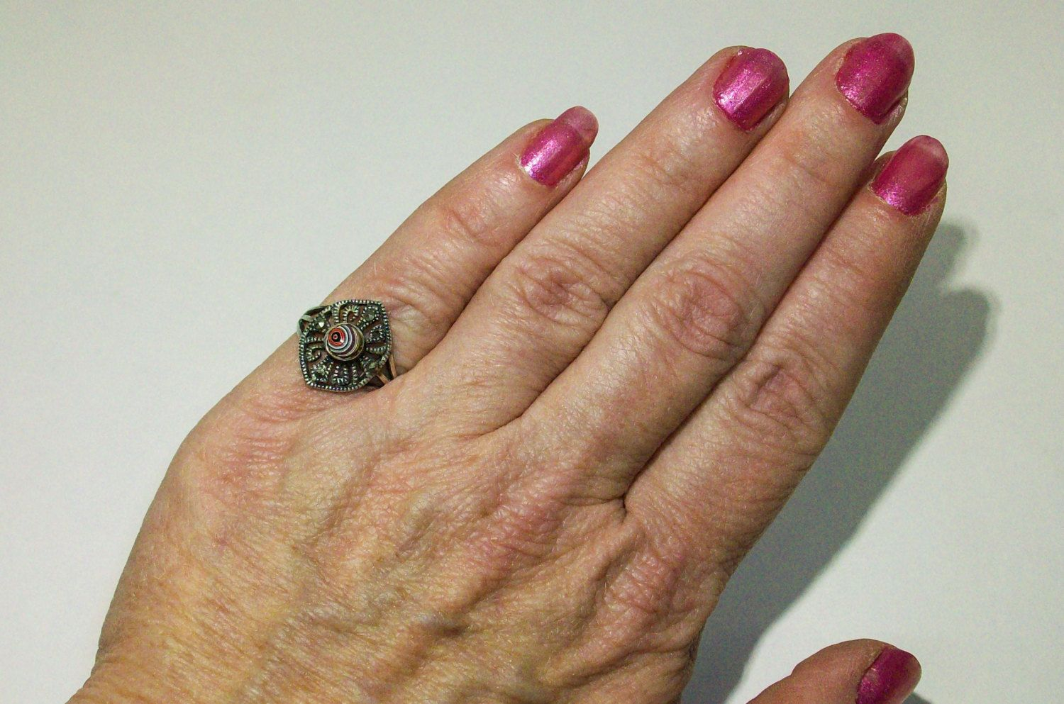 Vintage Sterling Silver Ring upcycled with a 1958-9, Detroit, Motor-City Agate, Fordite Cabochon, with Marcasite accents! ~ mrfeld ~ FR106 by mrfeld on Etsy