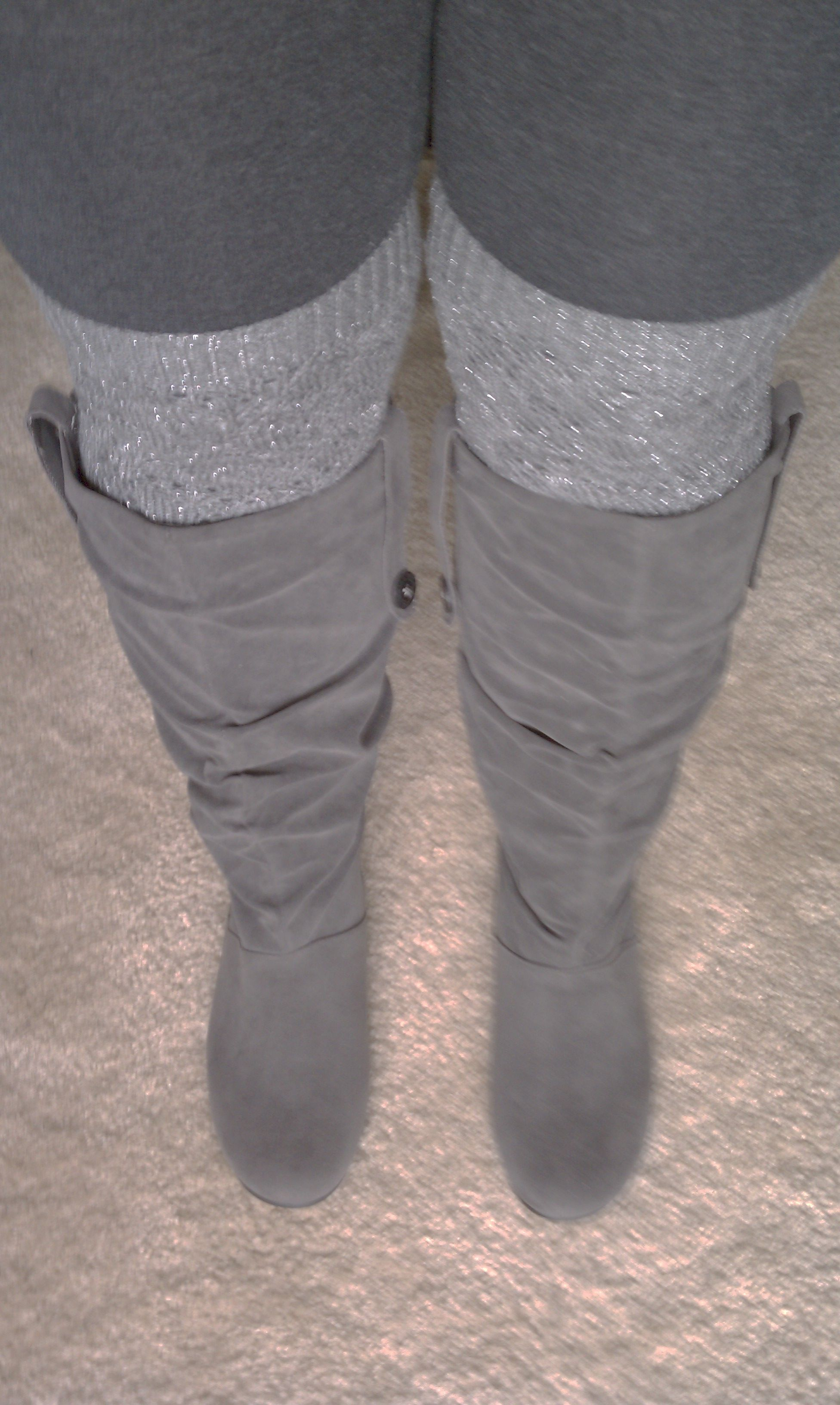 Lane Bryant boots (great for my big calves...thanks to swimming and tennis), Target gray sparkly knitted leg warmers and tights. I'm ready for fall!