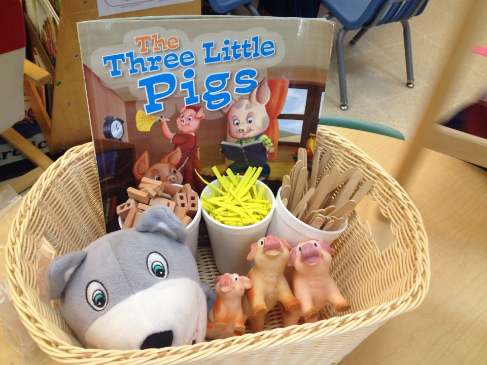 The three little pigs, literacy basket with props for retelling the story.
