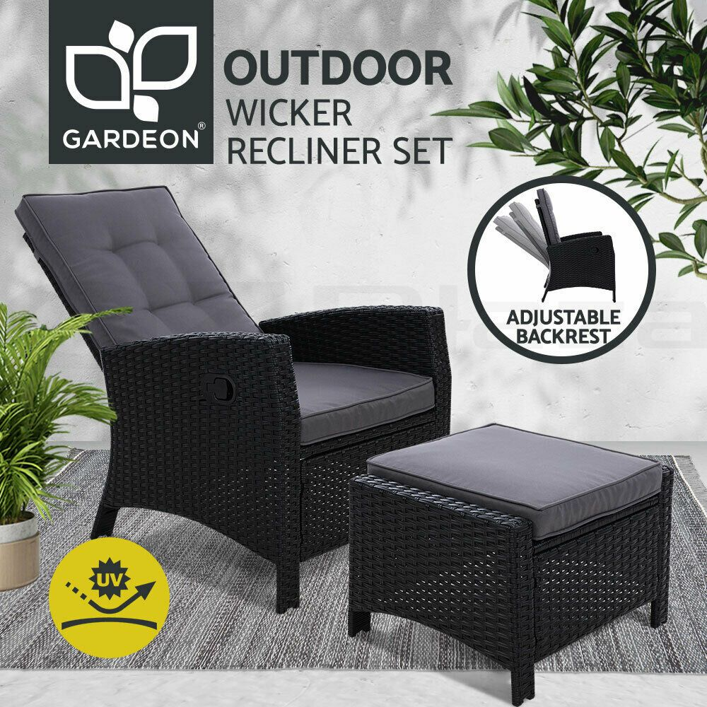Gardeon Patio Furniture Sofa Recliner Chair Sun Lounge Wicker Outdoor Ottoman Outdoor Wicker Chairs Lounge Chair Outdoor Outdoor Chairs