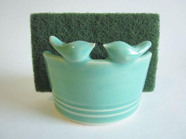 Kitchen Sponge Holder With Mint Green Lovebirds Home Decor Made To Order Kitchen Storage Ceramic Potte Kitchen Sponge Holder Sponge Holder Kitchen Storage