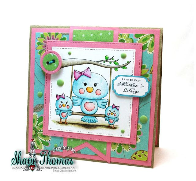 Digital Delights Little Tweetz digital stamp Mother's Day card, by Paperesse.