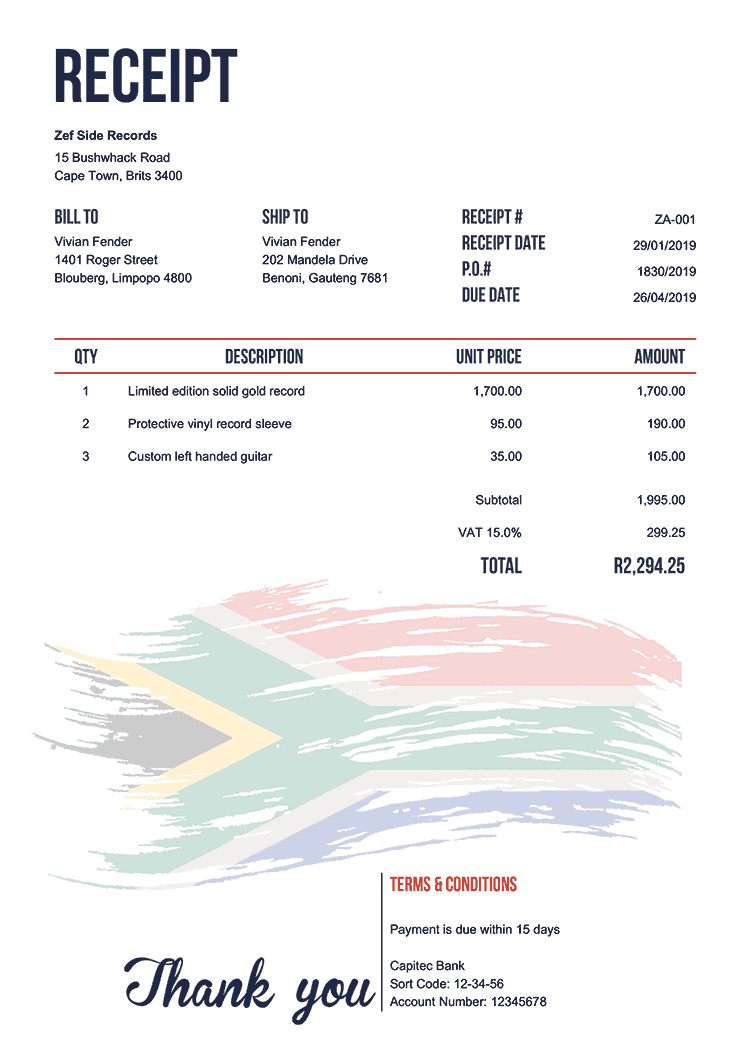 Receipt Template Za Flag Of South Africa Invoice Template Word Invoice Template Receipt Template