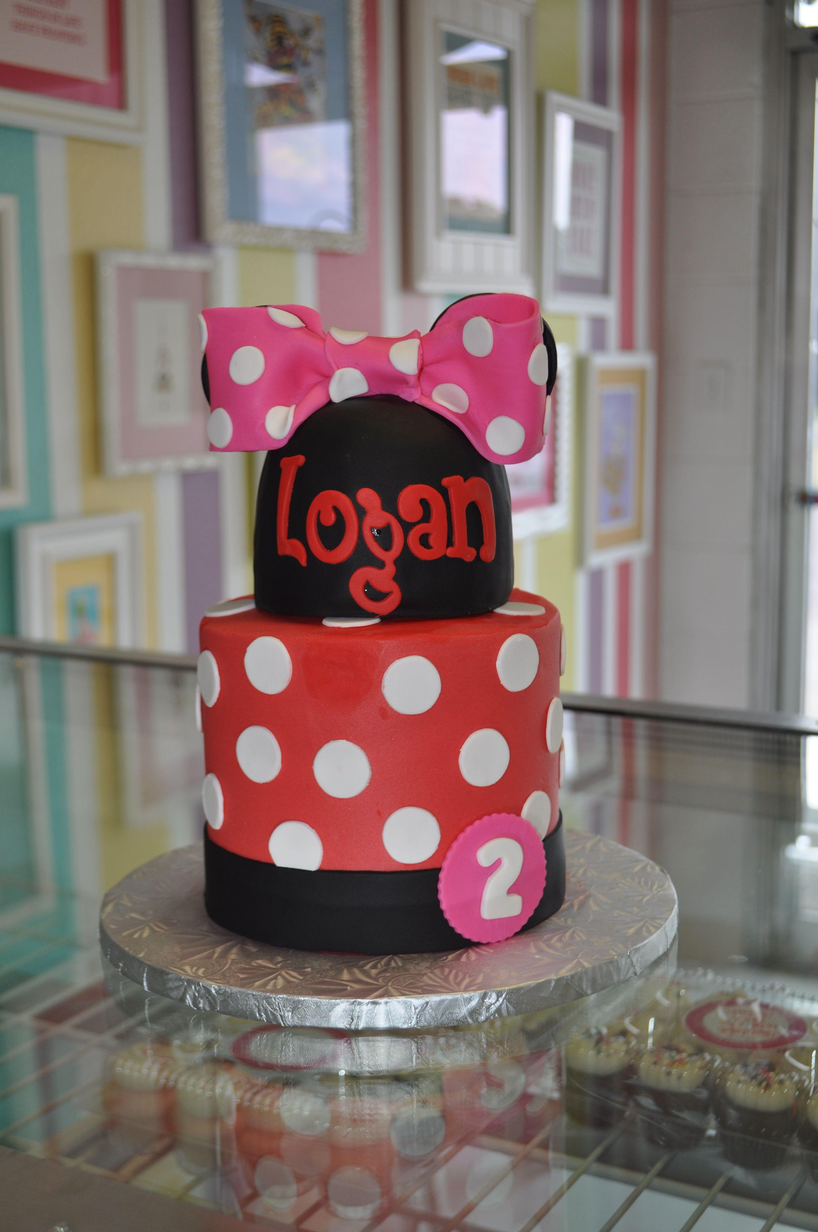 Minnie Mouse 2nd Birthday Cake Pink Red wwwLeahsSweetTreatscom