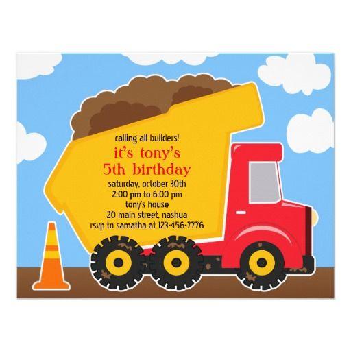 dump truck construction birthday invitation parties pinterest
