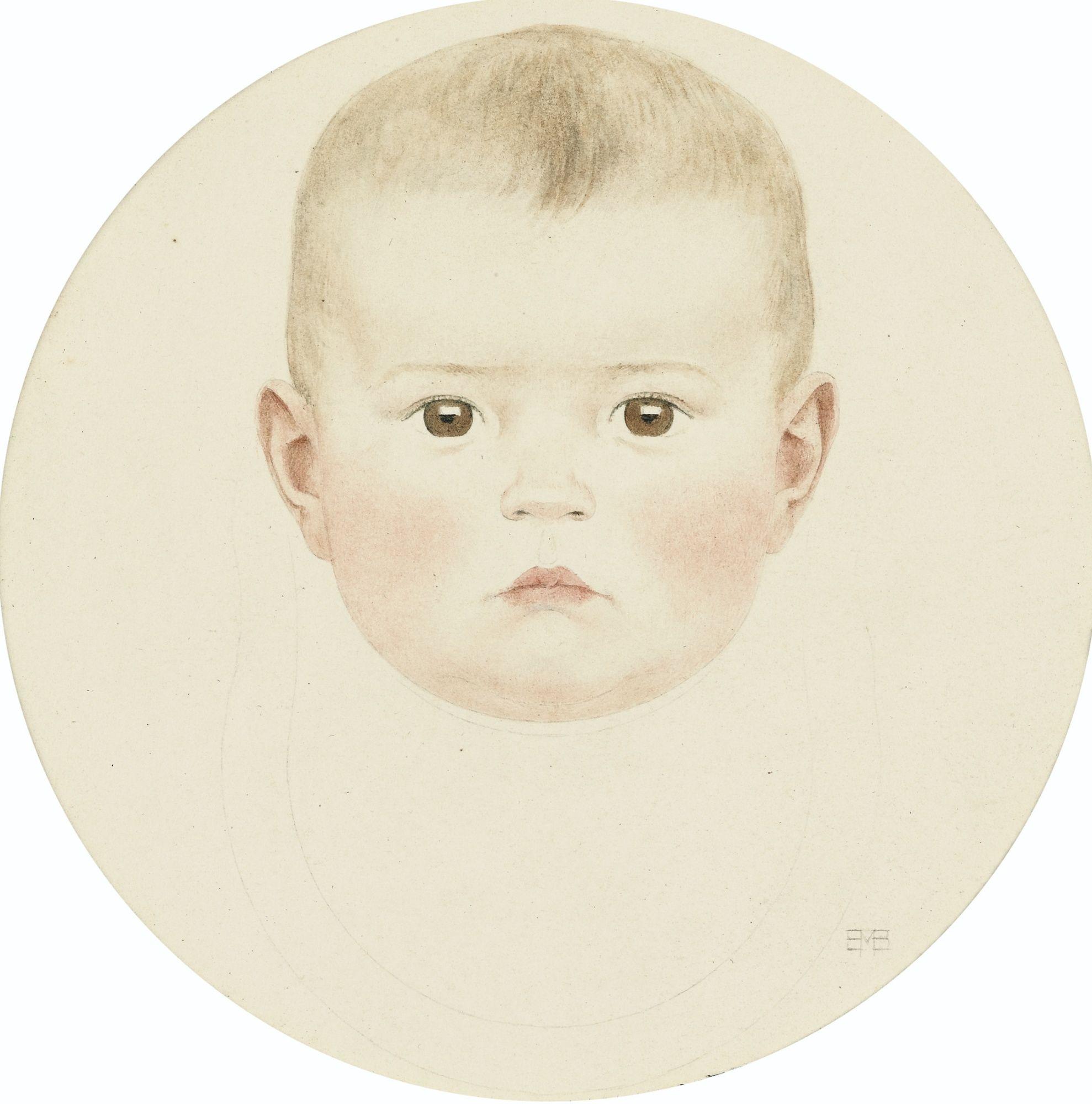 SYLVIE BÉBÉ by Bernard Boutet de Monvel (French 1881-1949) ; SYLVIE AS A BABY ; WATERCOLOR ON PAPER