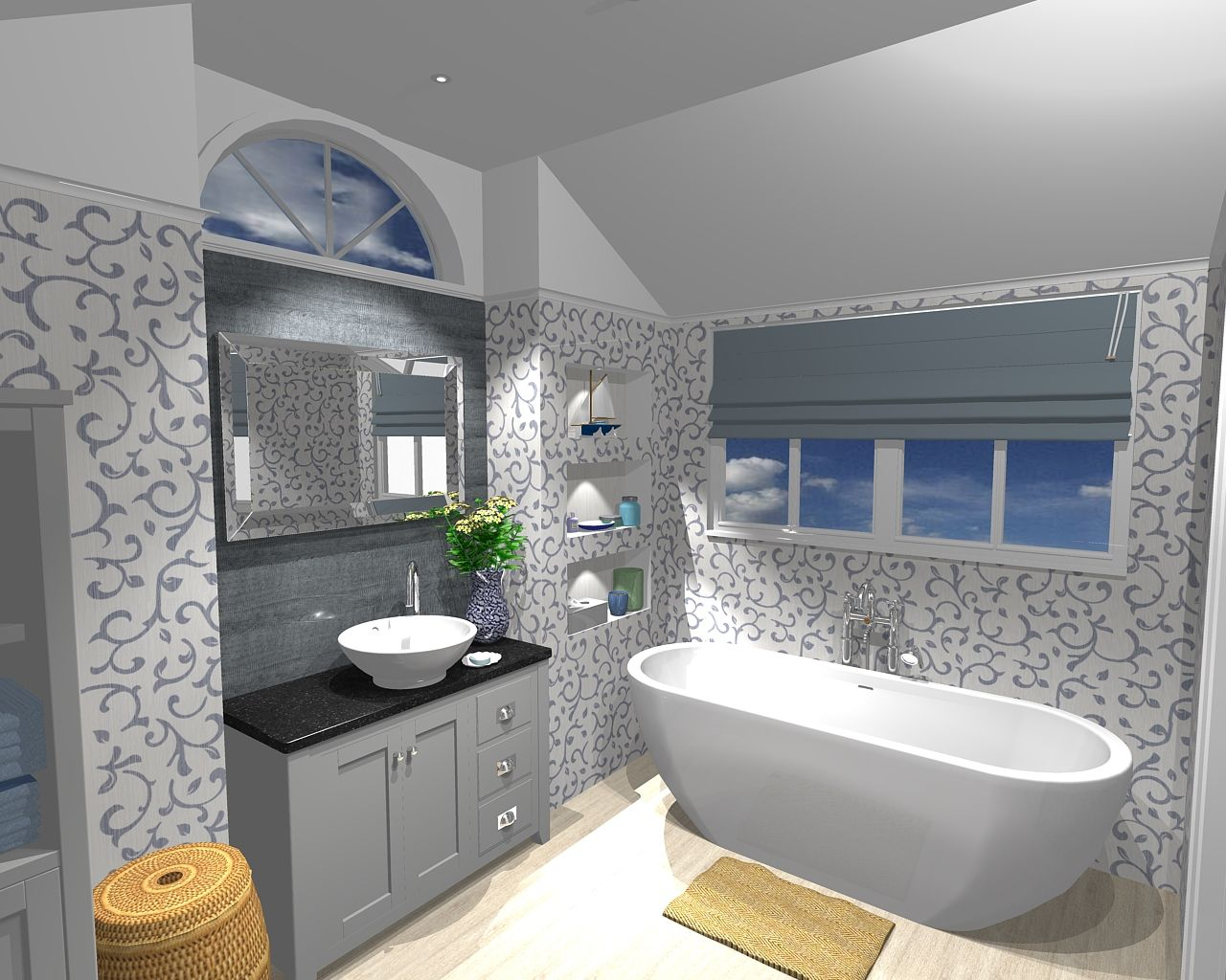 Laura Ashley Bathrooms Marlborough 1000mm Free Standing Unit With Honed  Granite Top, Vessel Basin And