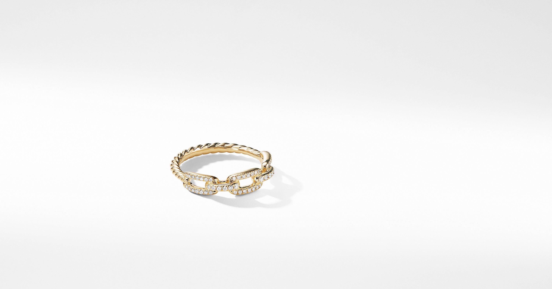 David Yurman Davidyurman Stax Single Row Pave Chain Link Ring With Diamonds In Rings Diamond 18k Gold