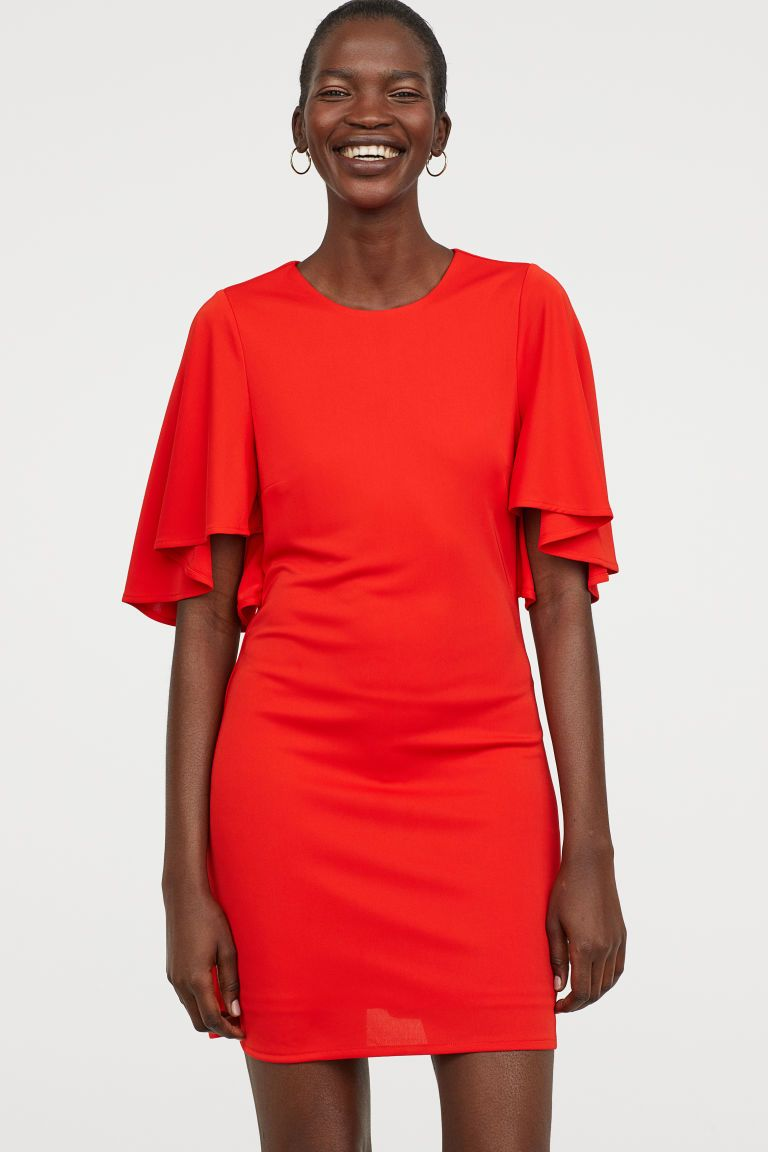 6e3e8838e824 H&M Butterfly-sleeved Dress - Red in 2019 | Coop & Chanel's Wedding ...