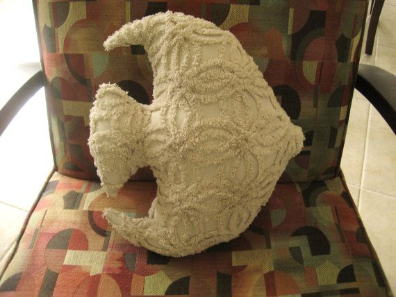 Vintage Chenille Angel Fish Pillow  Shabby by SURELYCHENILLE, $24.99