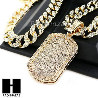Hip hop 14k gold plated dog tag pave pendant 30 iced out cuban link hip hop 14k gold plated dog tag pave pendant 30 iced out cuban link chain n08 aloadofball Image collections