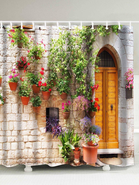 D street flower door pattern waterproof shower curtain home decor
