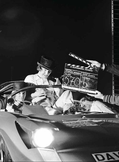 """On the set of """"A Clockwork Orange"""", Stanley Kubrick, 1971."""