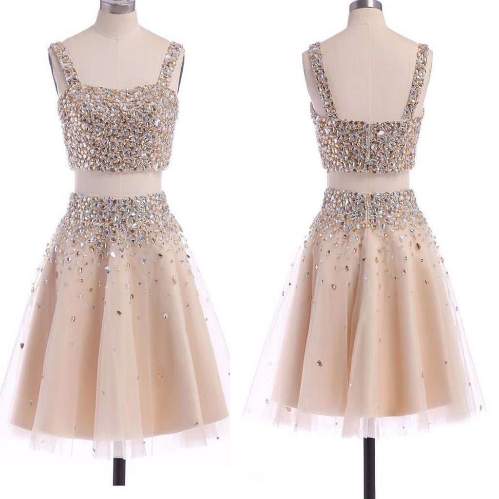Two pieces champagne spaghetti strap sparkly beads square neck