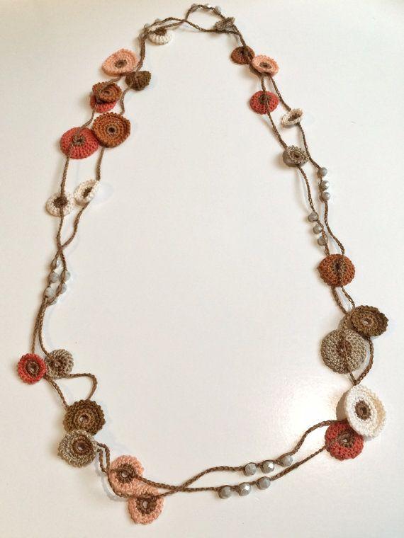 Earth shades Turkish style beaded crochet necklace | Tonos tierra ...