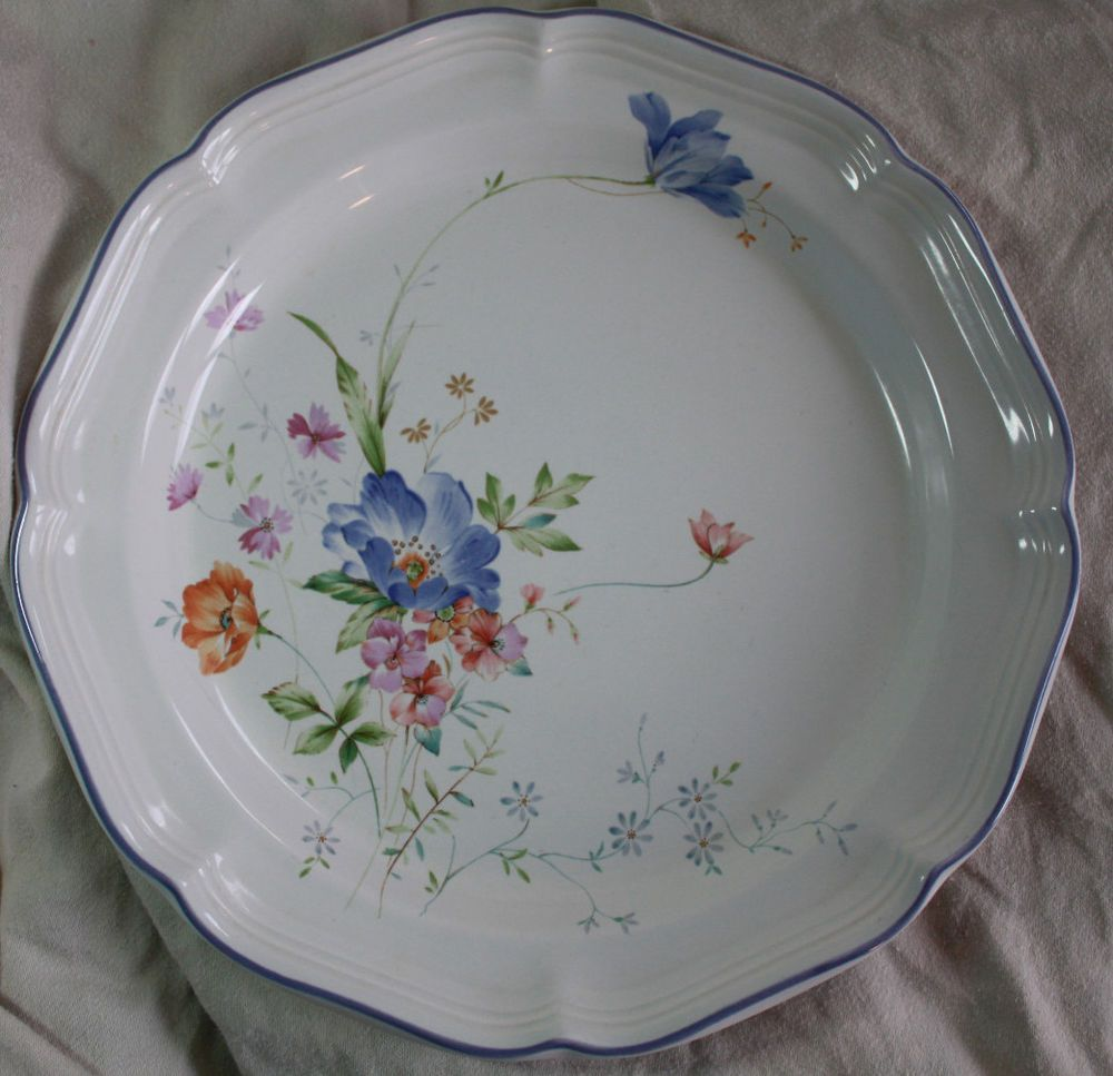 Set of FOUR (4) MIKASA French Countryside BLUE BOUQUET 10 7/8  & Set of FOUR (4) MIKASA French Countryside BLUE BOUQUET 10 7/8 ...