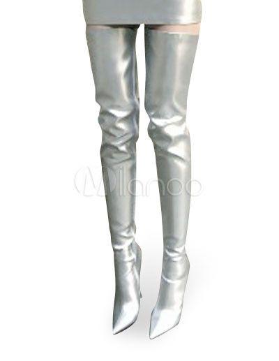 68b0777e062 [$65.99] High Heel silver Patent Thigh High Sexy Non-Platform Boots Botas  Altas