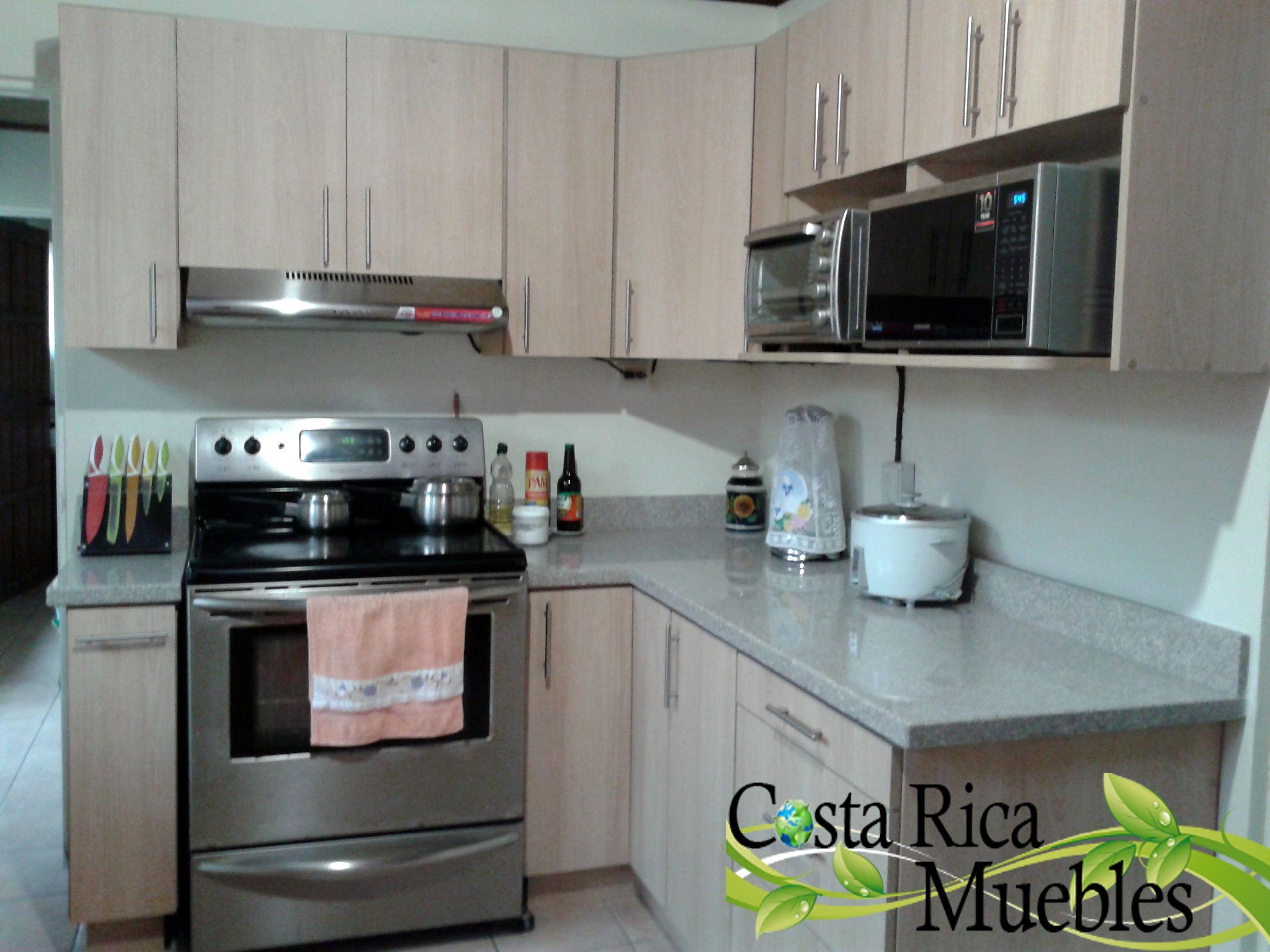 Mueble de Cocina Melamina Carvalo con sobre granito natural tono ...