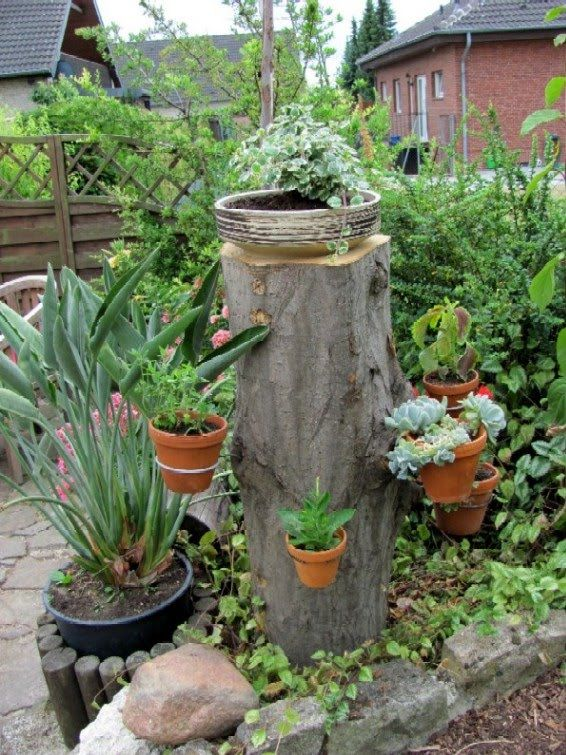 Baumstamm Bastelideen Baumstumpf Im Garten Gestalten