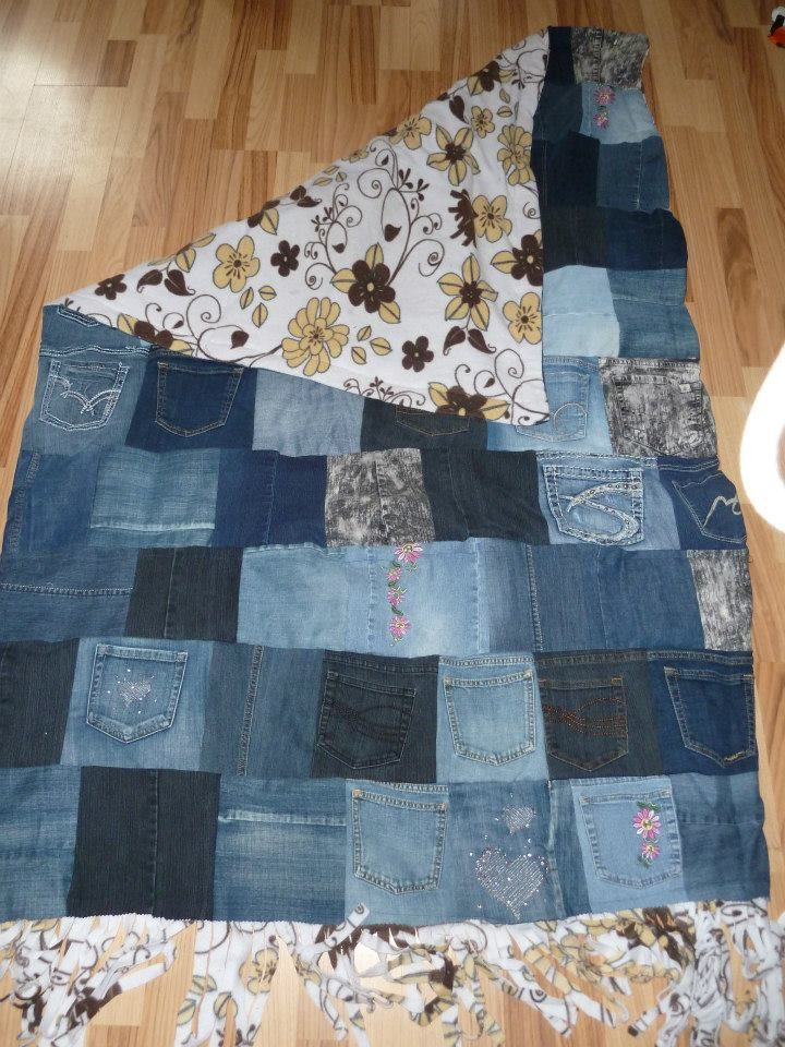 A blanket I made out of jeans cut into squares backed with ...
