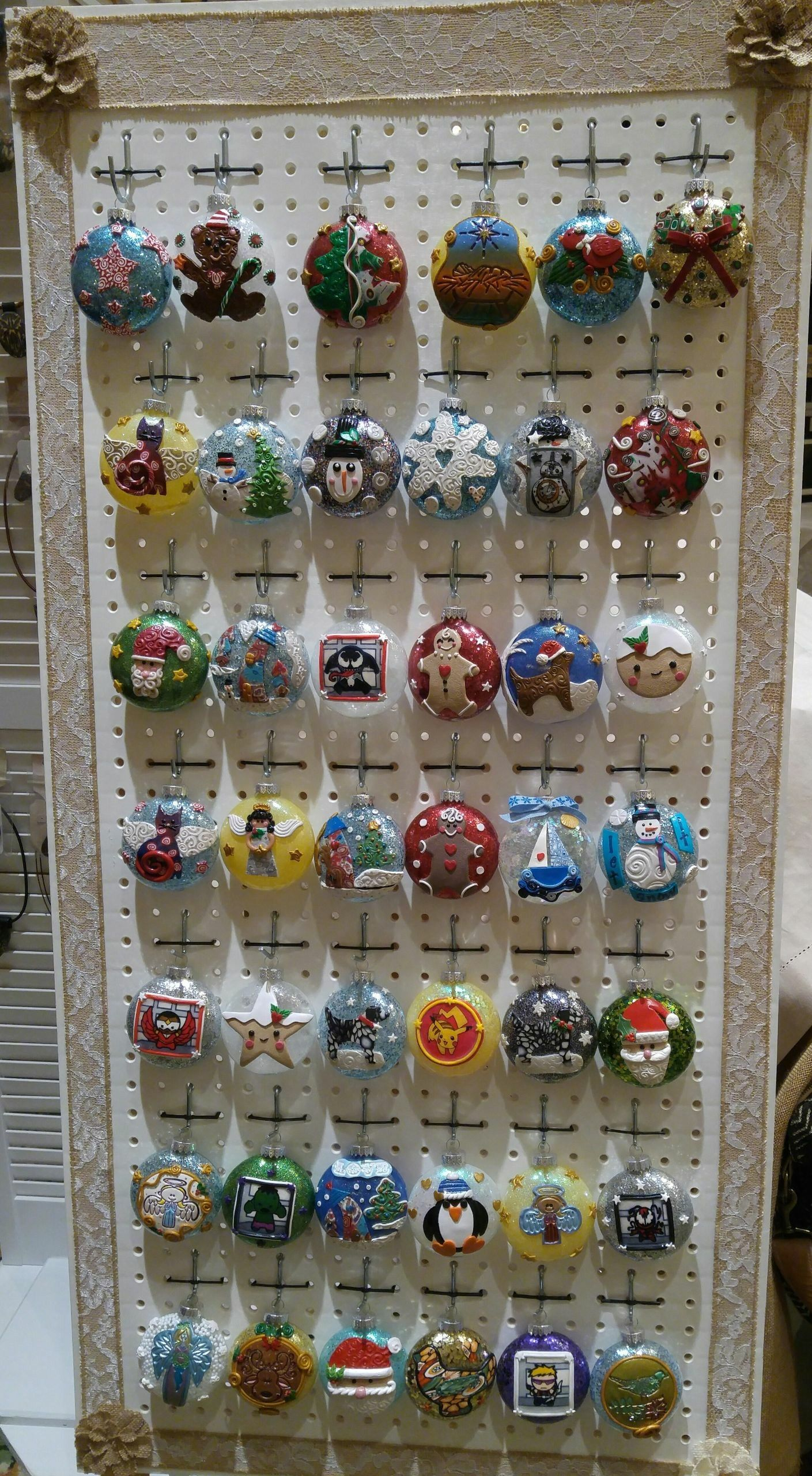 Christmas Craft Show Items.Peg Board Display For Christmas Ornaments Or Other Craft