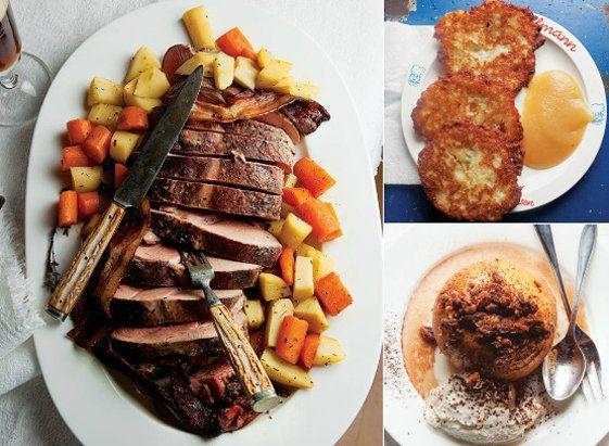 a german christmas dinner shine food yahoo shine pork roast w root vegtables german beer potatoe panacakes red cabbage