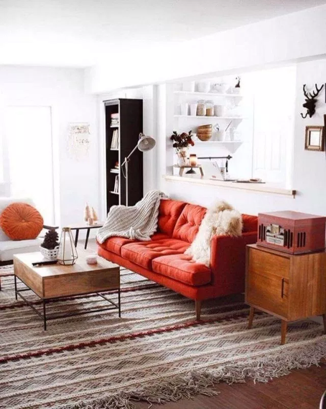 30 Perfect Scandinavian Interior Decorating Ideas For Small Spaces Scandinavian Scandinavianinter In 2020 Red Sofa Living Room Red Sofa Living Red Couch Living Room #small #scandinavian #living #room
