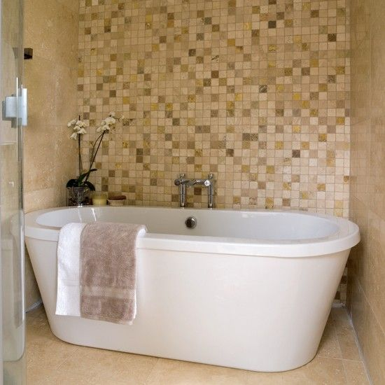 mosaic feature wall bathrooms bathroom ideas image housetohomecouk - Mosaic Bathroom Designs