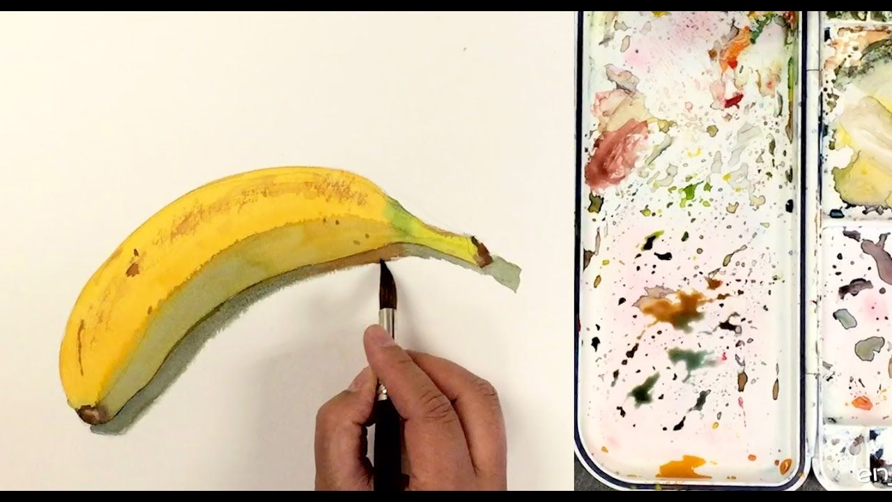 How To Paint A Banana In Watercolor In Simple Steps Youtube