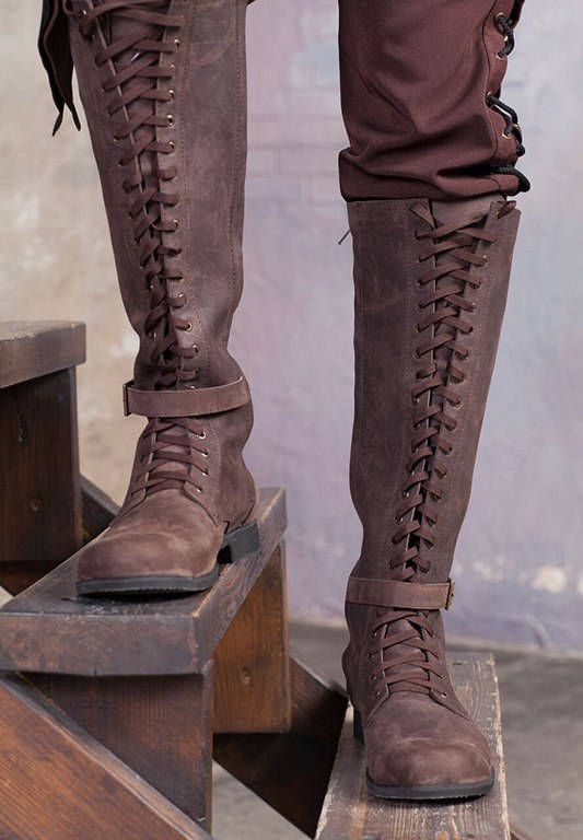 6d0b67fe465 Knee high mens boots   Lace up medieval leather boots   Cosplay leather  shoes