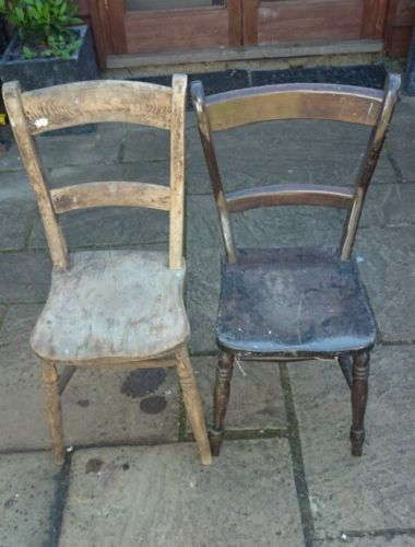 Pair Of Wooden Antique Chairs Ebay