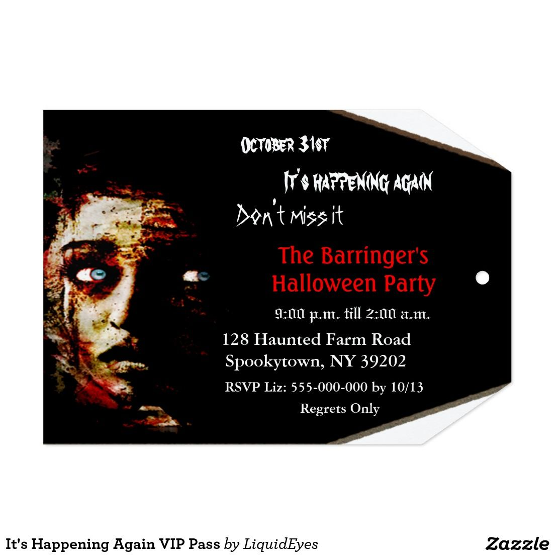 Just in time for Halloween It's Happening Again VIP Pass 5x7 Paper Unique Invitation Card
