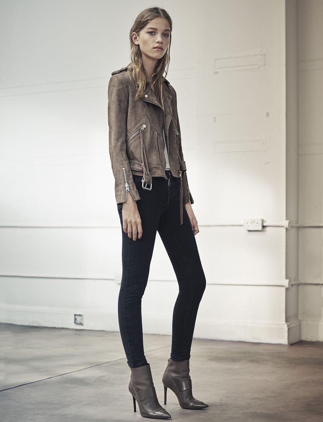 AllSaints Women's August Lookbook Look 4: Plait Balfern Biker, Malin Silk Vest, Track Ankle Jeans