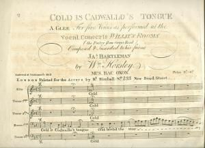 Cold is Cadwallo's Tongue. London, 1820?