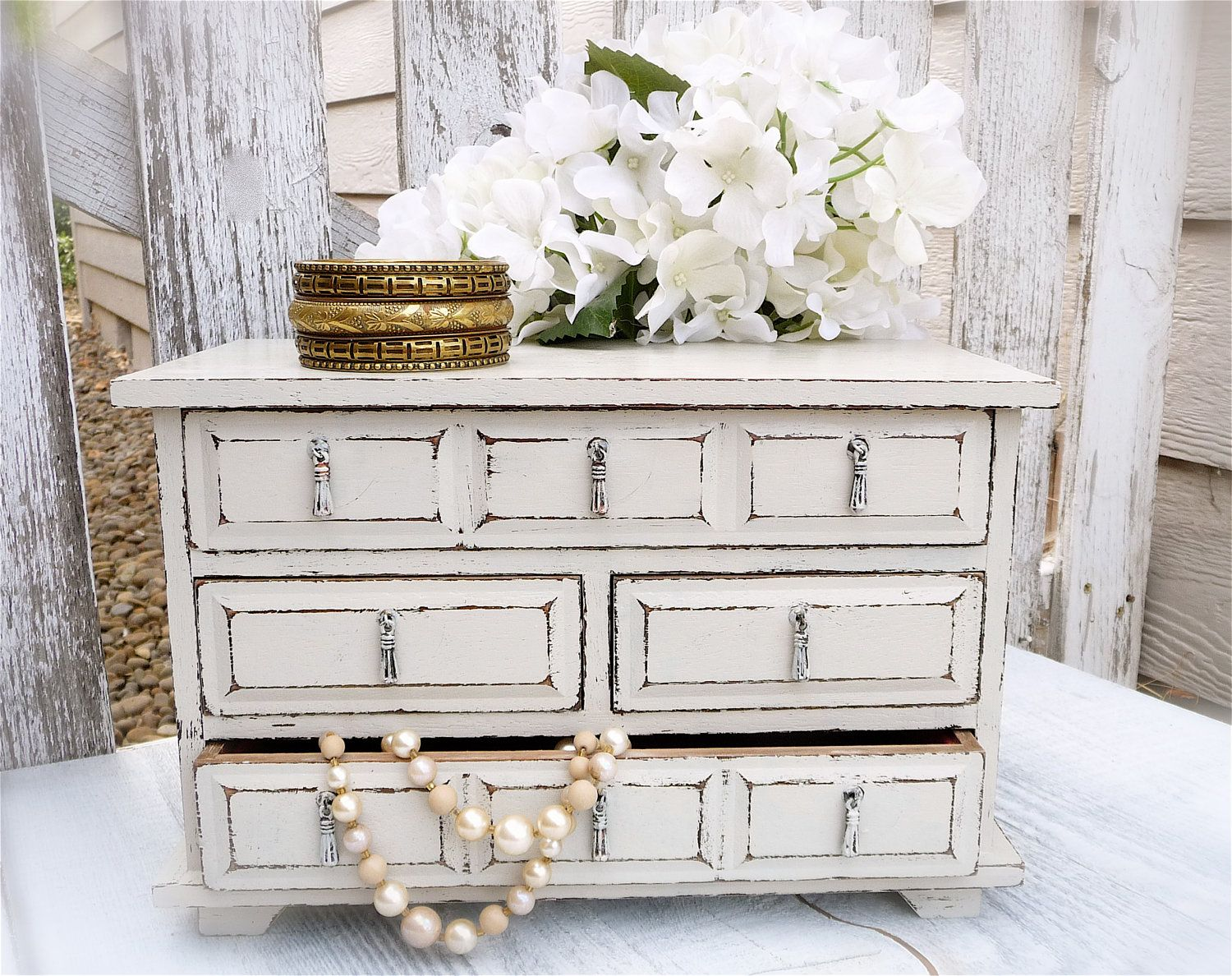 large white ivory shabby chic upcycled jewelry box chest of drawers via etsy diy for. Black Bedroom Furniture Sets. Home Design Ideas