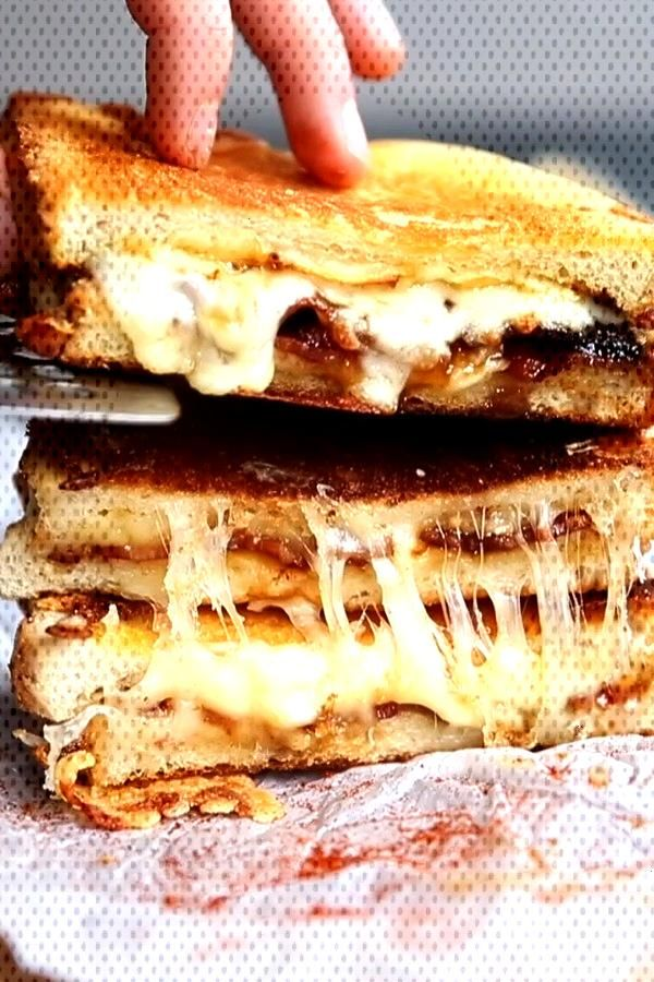 Take your grilled cheese game to the next level by adding maple bacon! Sweet, sticky, smokey and ex