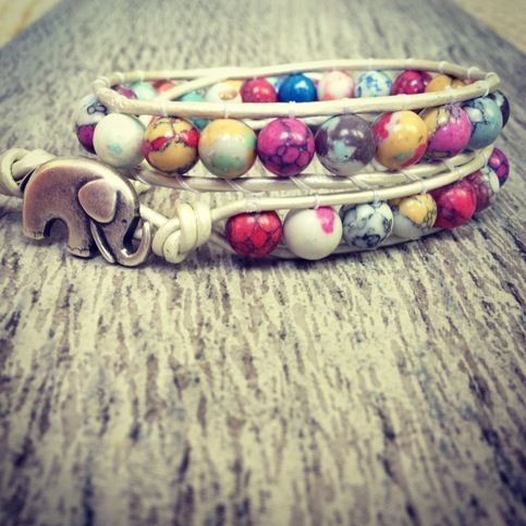 """Jasper beads in every color under the sun!!!  Jasper stone beads  Wraps twice on soft cream leather  Antique Elephant closure  Fits 6""""-6.5"""" wrist (or larger if noted)"""