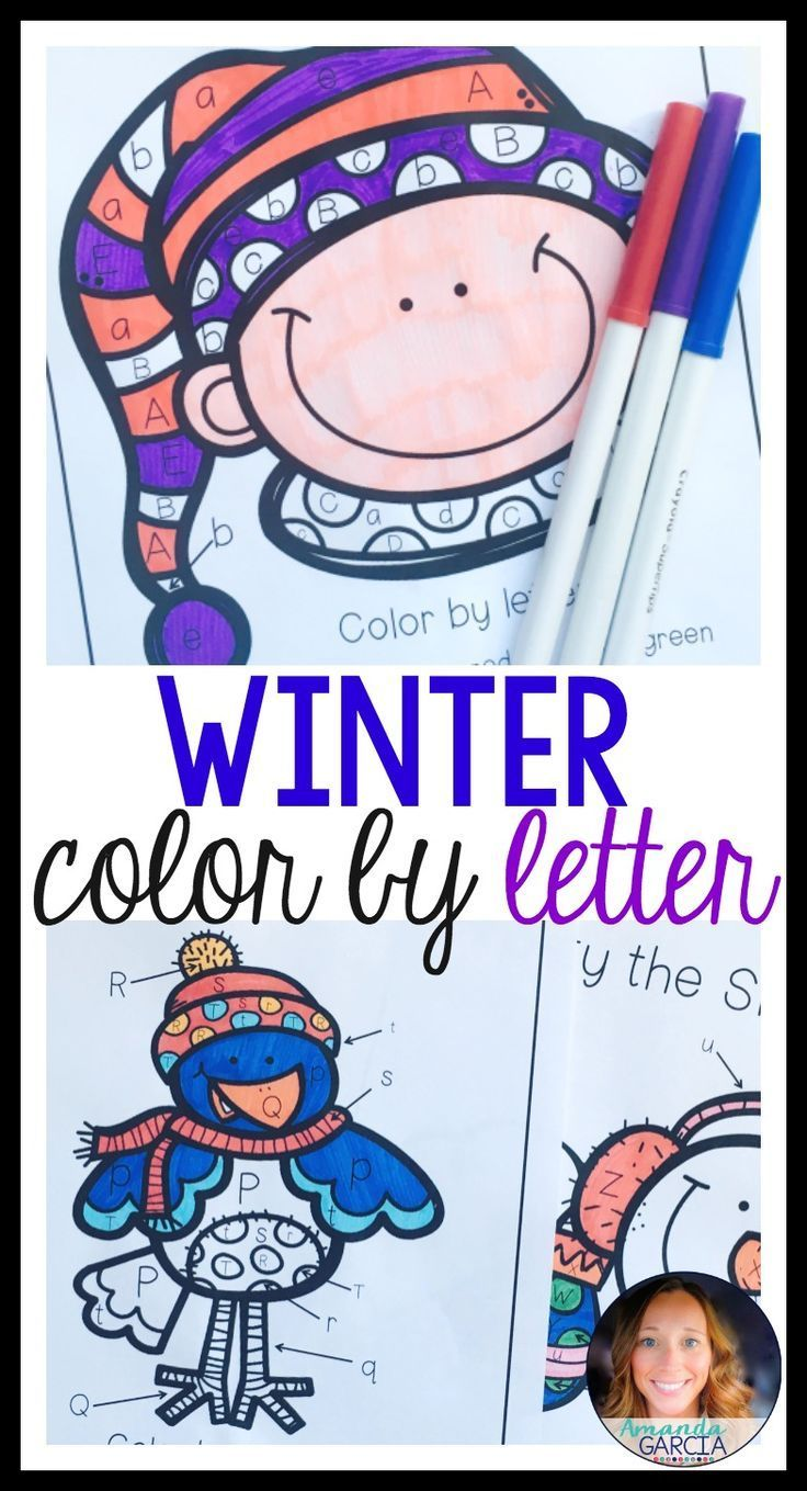 Winter color by letter activities literacy and kindergarten
