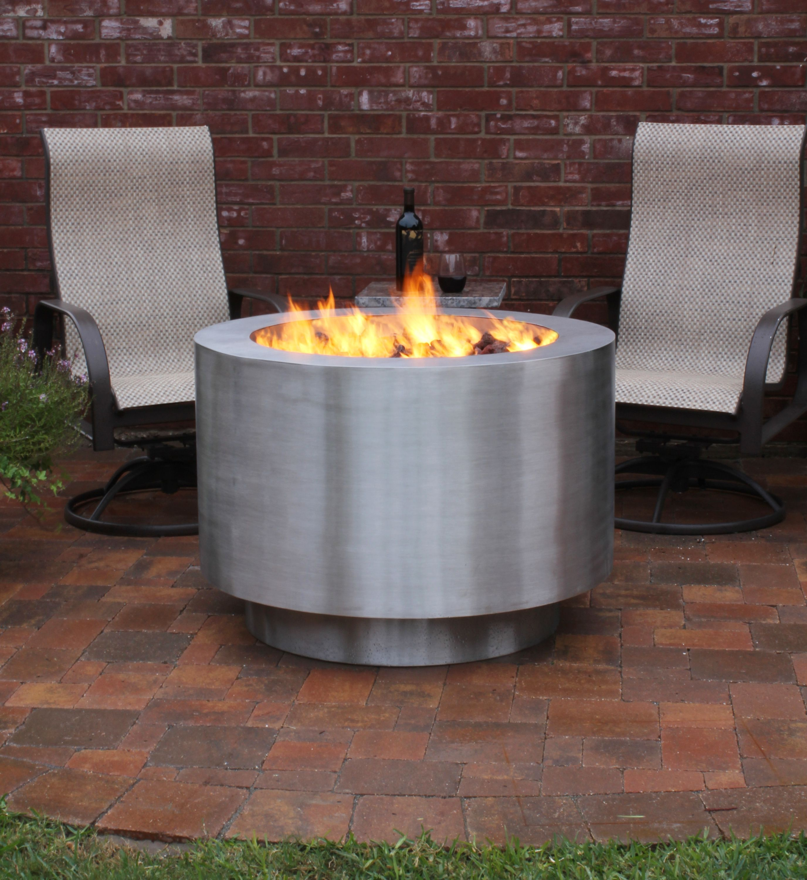 38 round stainless steel hidden lp tank fire pit available in wood