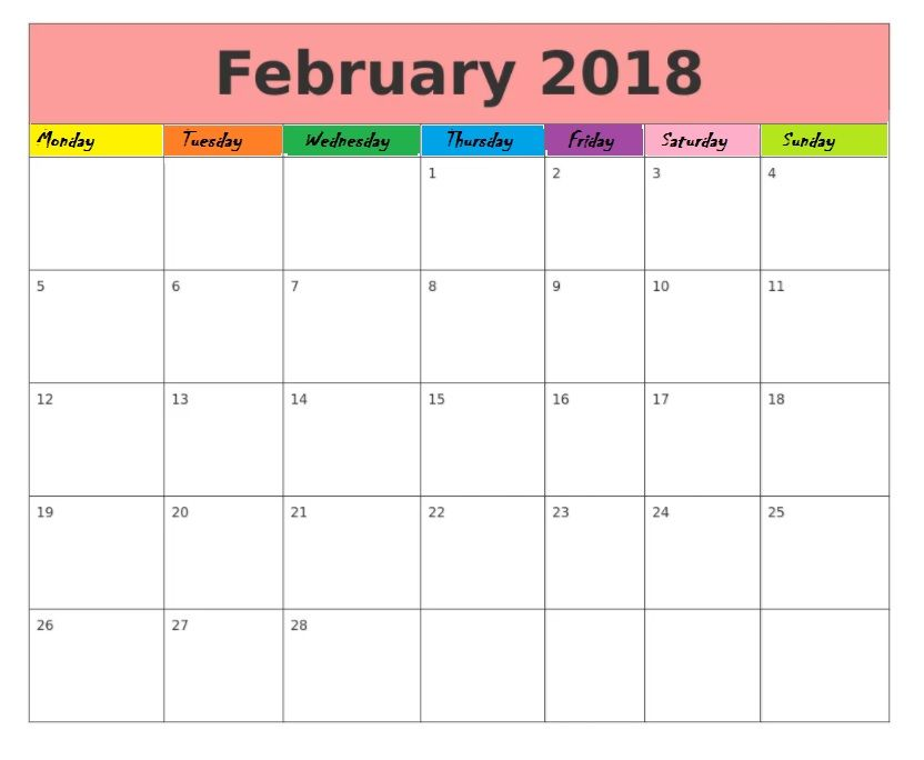 Blank February 2018 Printable Calendar Pinterest February - timetable template