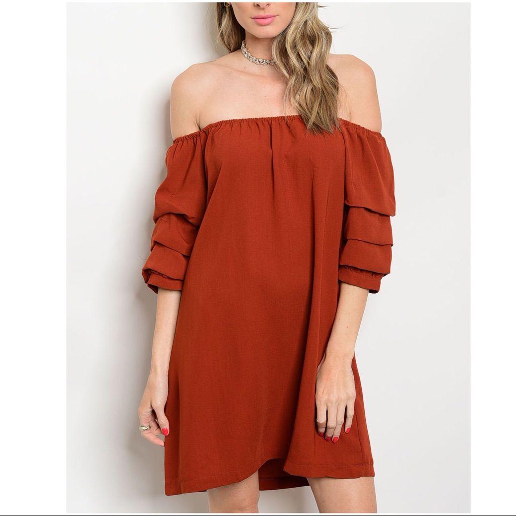 Off the shoulder rust color midi summer dress midi summer dresses