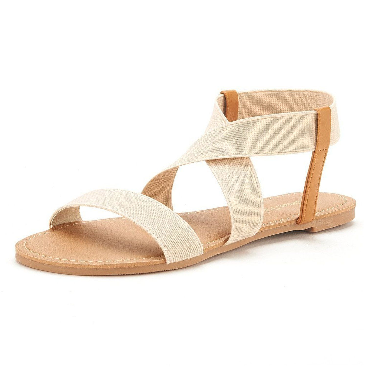 4c4c5475f43c DREAM PAIRS ELASTICA Women Summer Fashion Design Open -Toe Elastic Ankle  Strap Gladiator Flat Sandals    You can get more details here   Gladiator  sandals