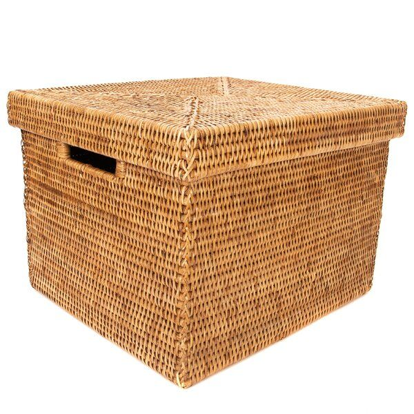 Rattan File Box with Lid and Cutout Handles