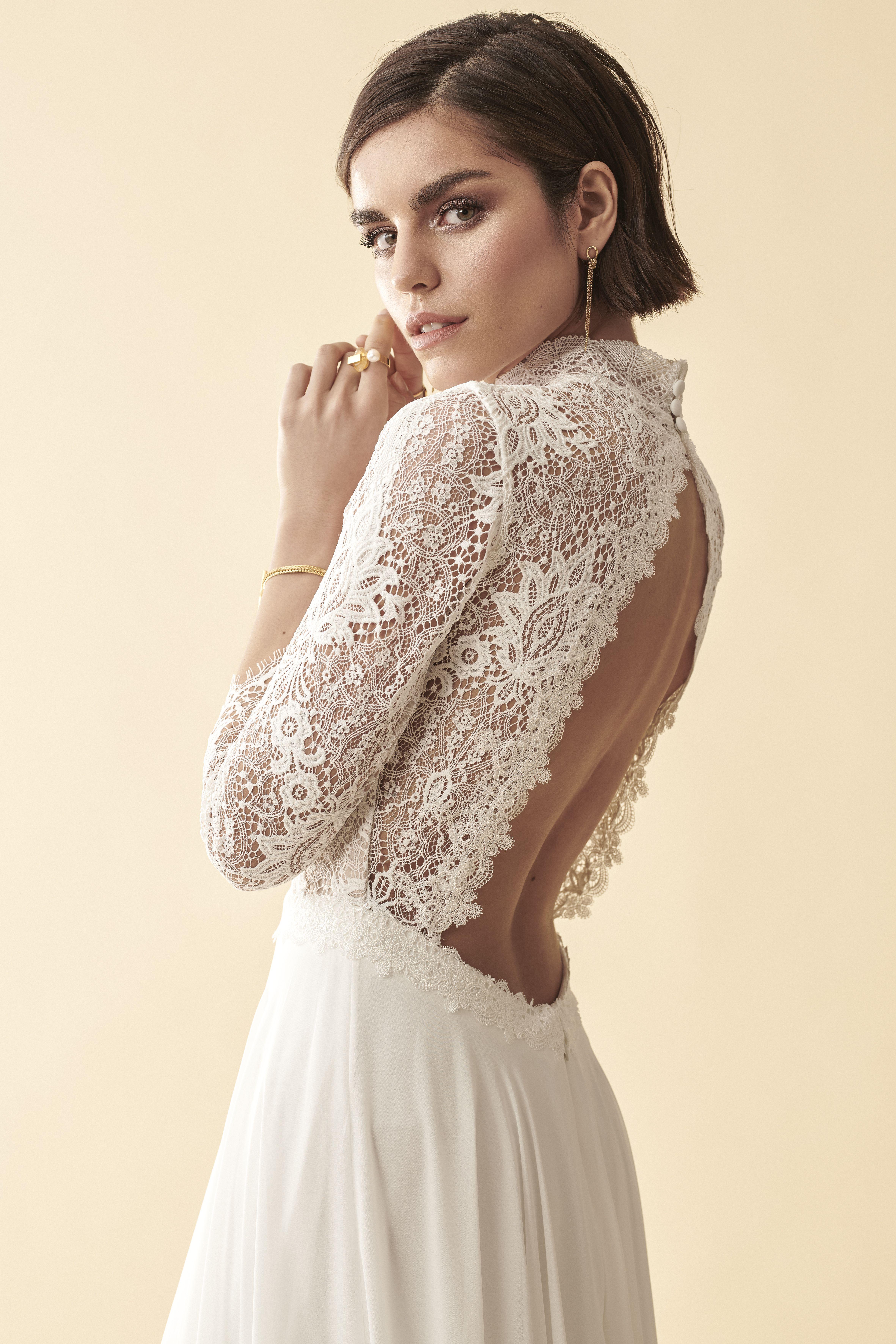 Umwerfend schönes Boho-Brautkleid aus feinster Spitze mit ...