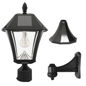 Gama Sonic Baytown Ii Bulb 1 Light Black Led Outdoor Solar Post Wall Light With Gs Light Bulb Warm White Gs 105b Fpw The Home Depot In 2020 Outdoor Solar Lamps Led Outdoor Lighting Solar