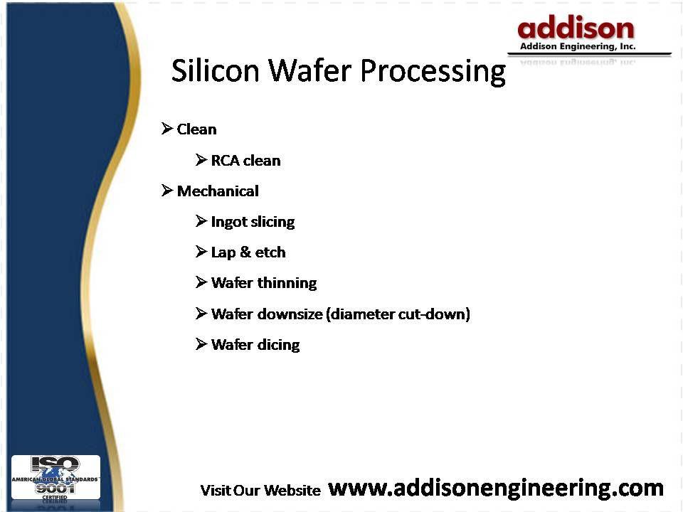 Clean RCA clean Mechanical Ingot slicing Lap & etch Wafer