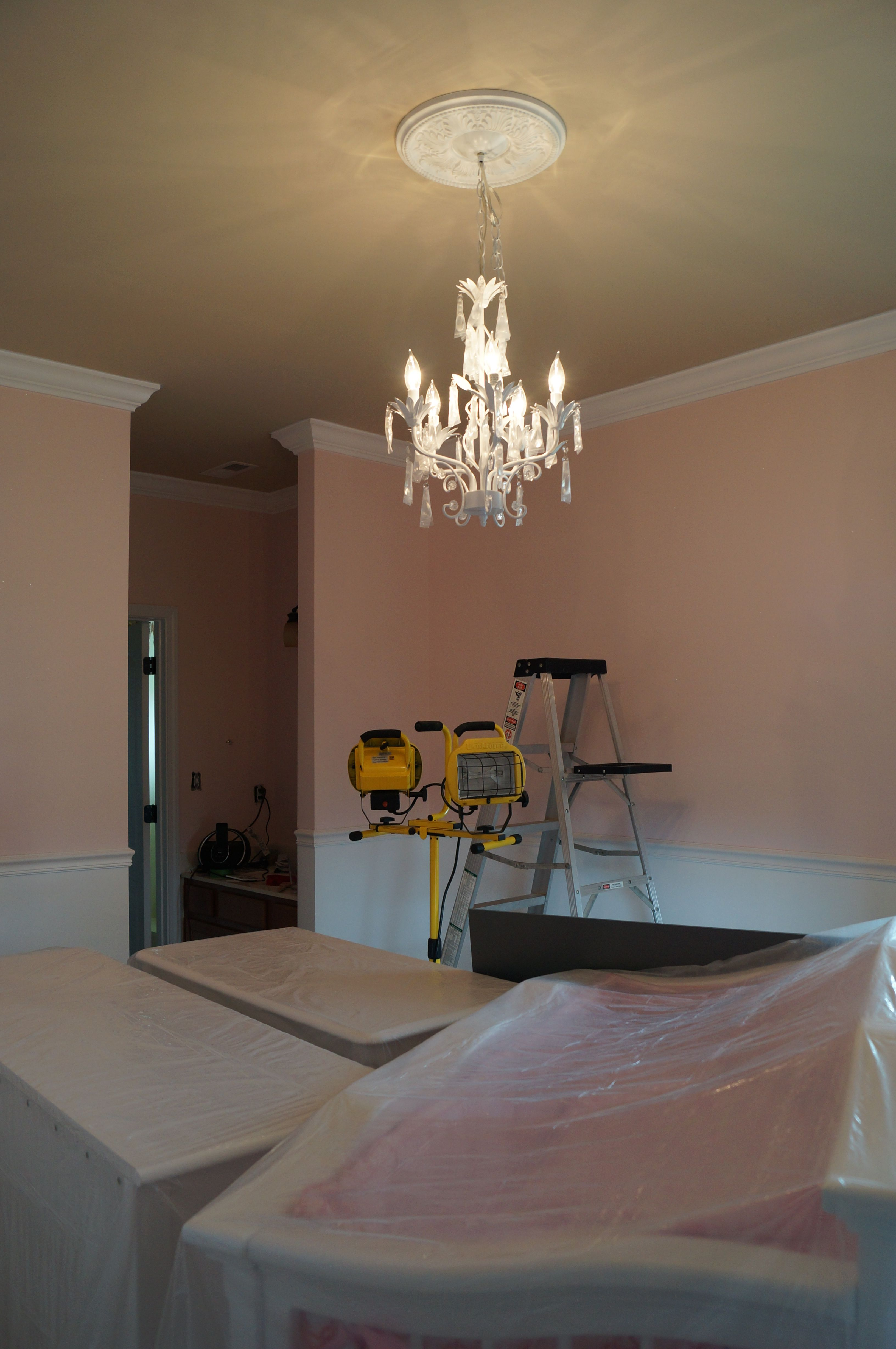 Baby Room Decor   Chandelier Added U0026 Ordered From Zulily . DIY / Chair Rail  / Crown Molding.