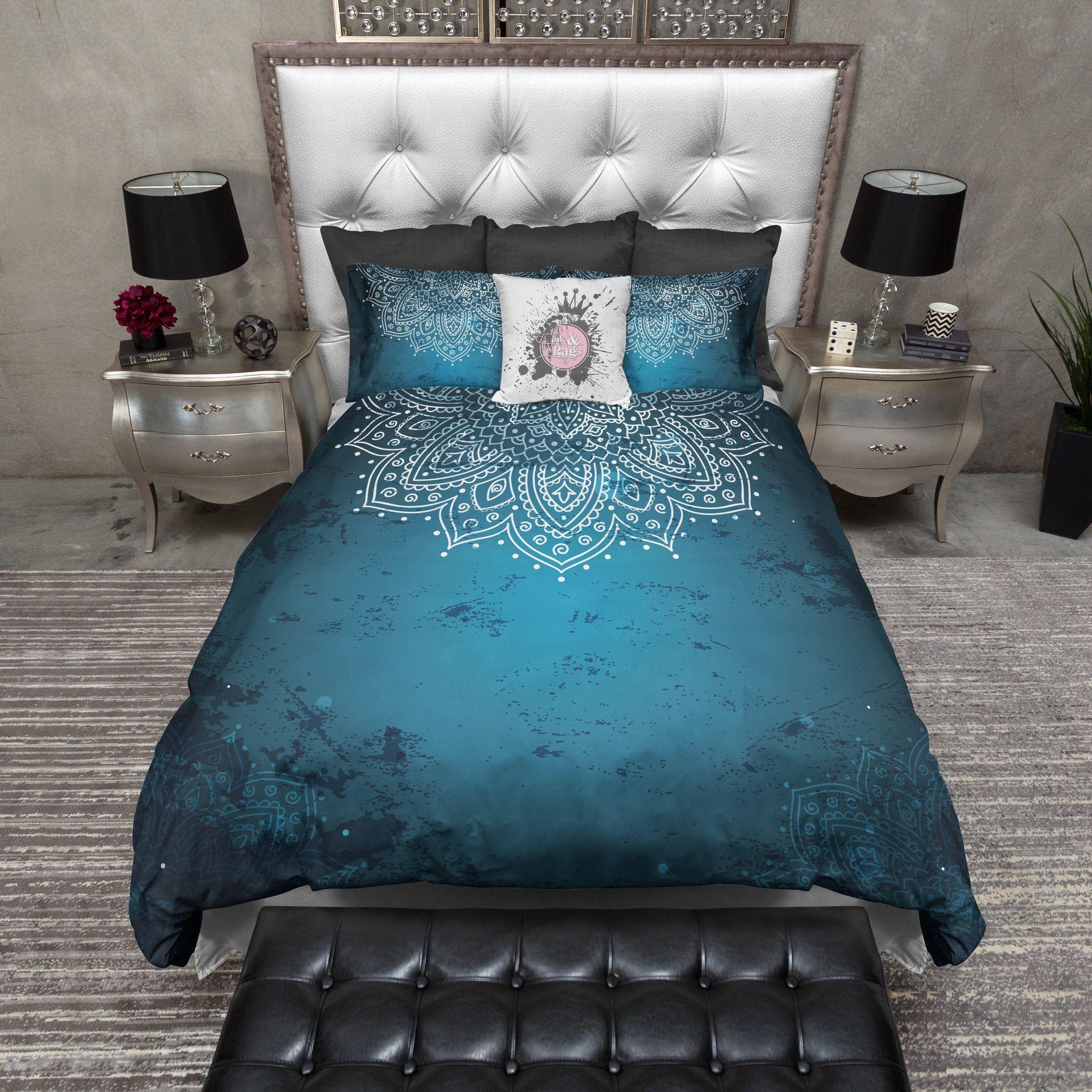 Distressed Blue Half Mandala Bedding