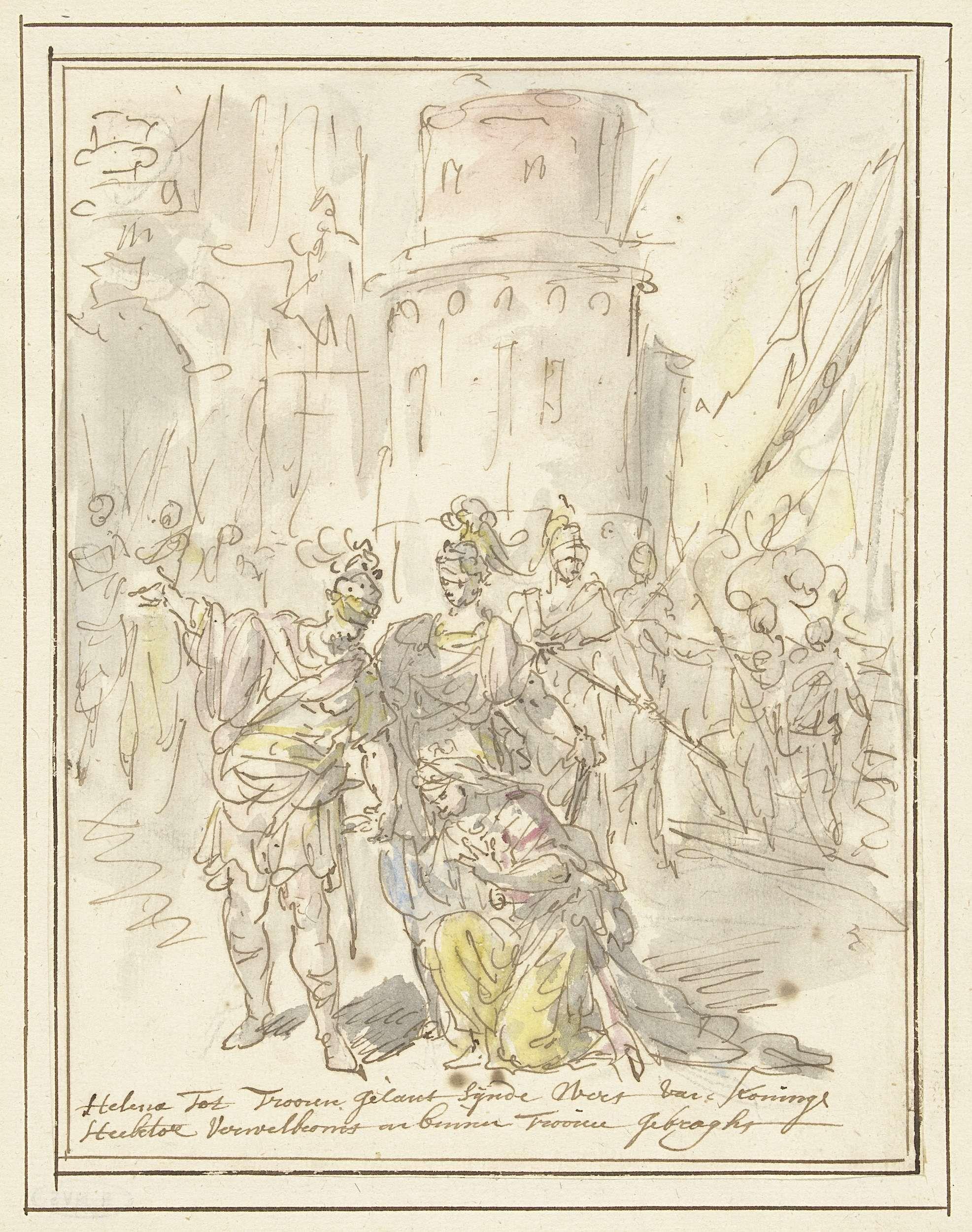 Elias van Nijmegen | Helena wordt bij haar aankomst in Troje verwelkomd door Hector, Elias van Nijmegen, 1677 - 1755 | Ontwerp voor een schildering.